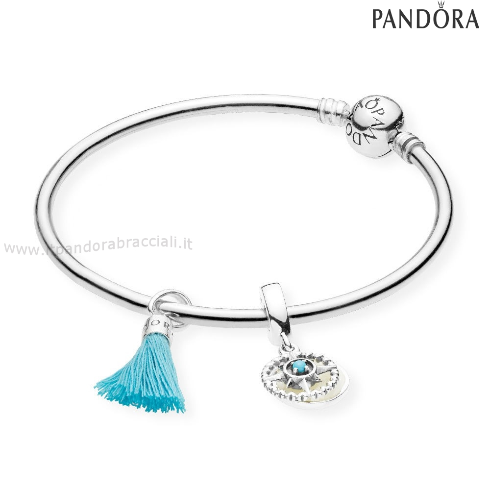 Offerte Pandora Turquoise Tassel And Bussola Bangle Set