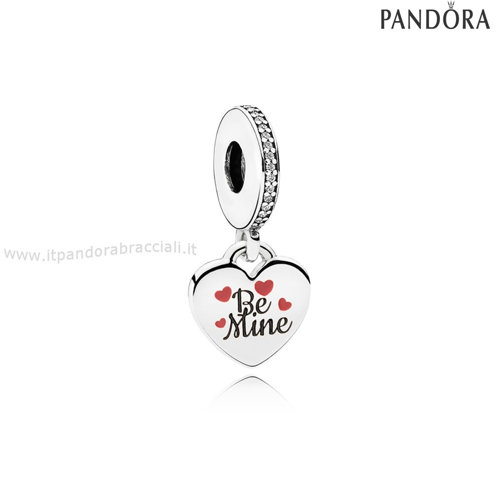 Offerte Pandora Be Mine Dangle Charm Burgundy Nero Enamel