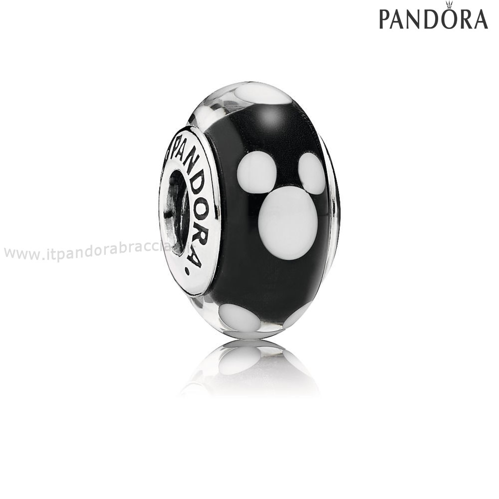 Offerte Pandora Disney Mickey Silver Charm With Black And White Murano Glass