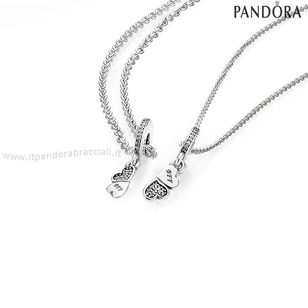 Offerte Pandora Hearts Silver Dangle With Clear Cubic Zirconia And Necklace