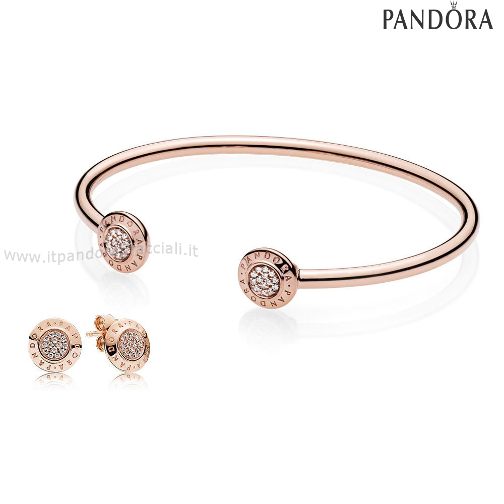 Offerte Pandora Pandora Rose Signatura Bangle And Earsquillare Regalo Impostato